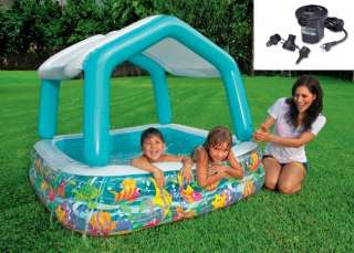 INTEX Sun & Shade Inflatable Kids Swimming Pool w/ Canopy + Quick Fill