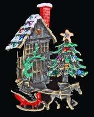 QUAINT SNOW COVERED COTTAGE CHRISTMAS PIN W TREE