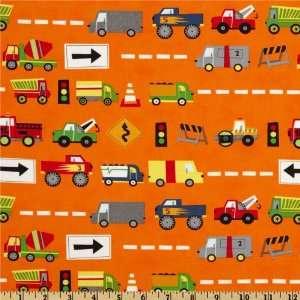 44 Wide Moda Ten Little Things Trucks Orange Fabric By