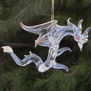 Dragon Christmas Ornament Figurine Hand Blown Glass Crystal
