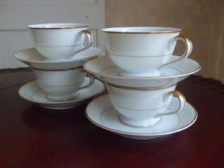 Fine China Japan 4 Cups Saucers White Gold Porcelain