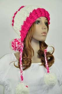 All Hand Knit Wool Young Lady Winter Ski Hat Cap Lovely String Balls