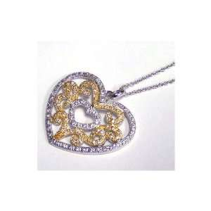 Nickel Free Silver Necklaces Heart Necklace With Gold Plating Jewelry