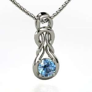 Forget Me Knot Pendant, Round Blue Topaz Platinum Necklace Jewelry