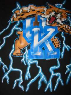 KENTUCKY WILDCATS LIGHTNING LOGO T Shirt Sz L UK Dual Print
