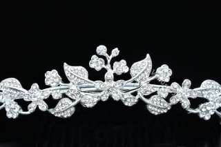 Bridal Floral Rhinestone Crystal Wedding Princess Prom Tiara Comb 8233