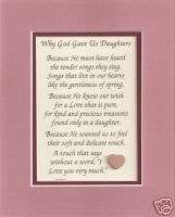 Precious DAUGHTERs God GAVE love verses poems plaques