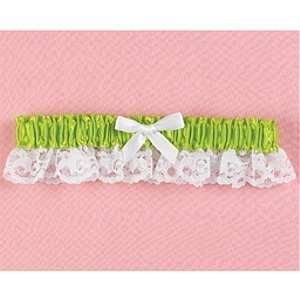 Lime Green Satin and Lace Wedding Garter