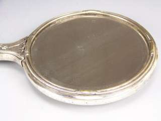 BAVARIA H PAINTED ROSES GOLD GERMAN SILVER HAND MIRROR
