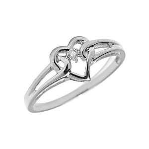 10K White Gold Diamond Heart Ring (Size 11) Jewelry