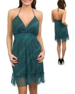 WOMANS PLUS SIZE FLIRTY TEAL & BLACK HALTER DRESS 2XL