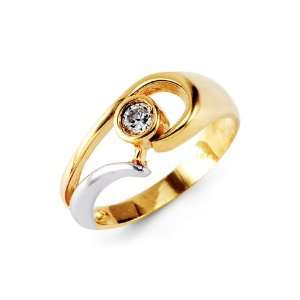 Round CZ Solitaire 14k White Yellow Gold Fashion Ring: Jewelry