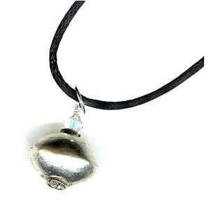 Ethiopian Bead Pendant Necklace ~ Nickel, Silver and