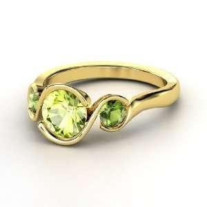 Hurricane Ring, Round Peridot 14K Yellow Gold Ring with