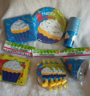 Cupcake Birthday Party, Plates, Cups, Napkins, Theme Party, Event