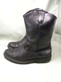 Pull On Work Black Leather 9.5 Mens Western Boots