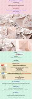 100 Pink and White ribbon / Wedding invitations and envelopes set and