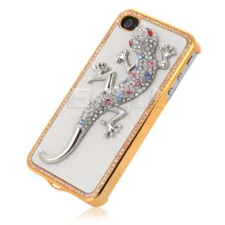 3D GECKO LIZARD ON WHITE LEATHER BACK CASE FOR iPHONE 4