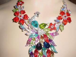 PRETTY AS A PEACOCK CRYSTAL NECKLACE & EARRING SET