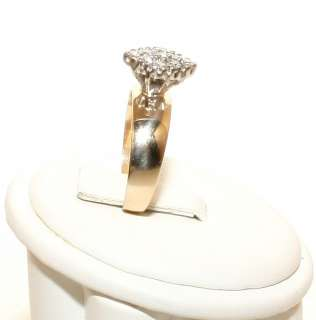Estate 14K Solid Gold .20ct Diamond Illusion Set Womans Ring