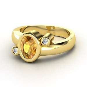 Planets Ring, Oval Citrine 14K Yellow Gold Ring with Diamond Jewelry
