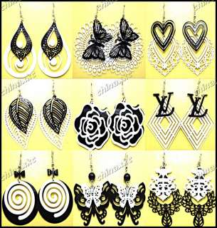 jewelry lots 24pairs Mix style Black & White Fashion earrings Hot sell