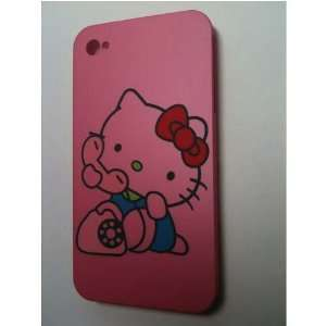 Hot Pink Kitty [Telephone] Designer Snap Slim Hard Protector Case Back