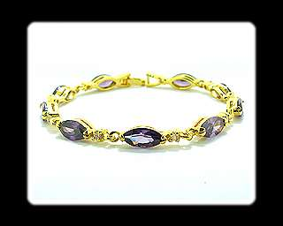Fashion Jewelry Lady Gift Purple Amethyst Yellow Gold GP Tennis