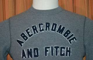 ABERCROMBIE & FITCH A&F GRAY MUSCLE THERMAL SWEATSHIRT SWEATER SHIRT