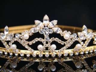 Bridal Wedding Veil Crystal Faux Pearl Crown Tiara G1