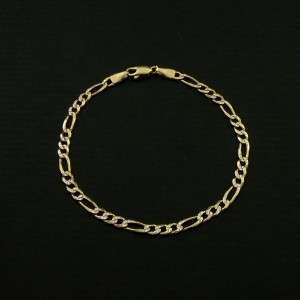 Designer 14k Solid Yellow Gold Figaro Bracelet   7.5 / 4.1g (Not