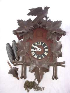 Antique Heco German Cuckoo Clock w/ 8 Day Movement, Carved Wood