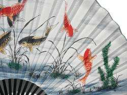 Chinese Red Black Koi Fishes Wall Paper Fan ss666