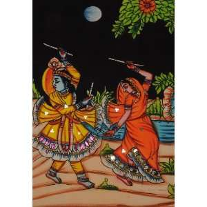 Indian Cotton Lord Krishna Hand Painted Pretty Wall Hanging Adorn with