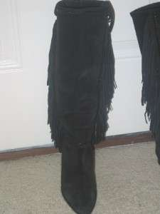 PALOMA BLACK FRINGE SUEDE LEATHER KNEE HIGH BOOTS 7.5 AA