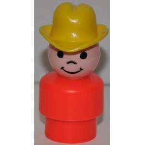 Vintage Little People Boy Cowboy (Yellow Cowboy Hat & Red Plastic Base