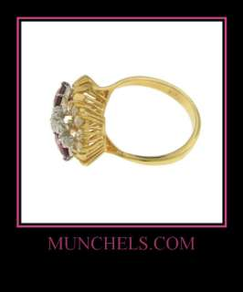SOLID 18K YELLOW GOLD RUBY AND DIAMOND FLOWER RING