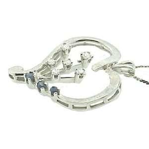 Vintage 14k White Gold Diamond & Sapphire Heart Pendant on Chain