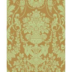 Urn Damask Mint Wallpaper by Blue Mountain in Shand Kydd (Double Roll