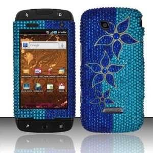 BLUE FLOWERS Hard Plastic Rhinestone Bling Case for Samsung Sidekick