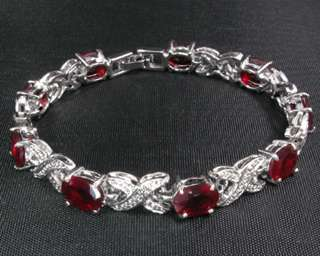 Fashion Jewelry Xmas Gift Red Ruby White Gold GP Bracelet Bangle Chain