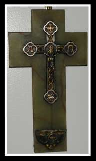 Antique Gold & Silver Crucifix Holy Water Fount on Marble NR