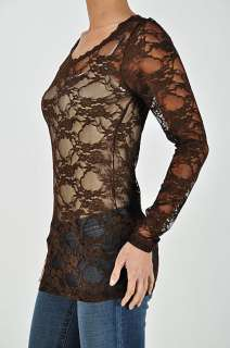 Sexy FULL LACE Sheer Long Sleeve SCOOP Neck Stretch Layering T shirt