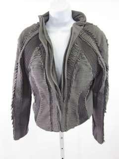 NWT CATHERINE DEANE Smoke Gray Silk Pleated Jacket Sz M