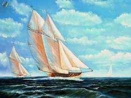 SAILING SHIPS ON HIGH SEAS 36x48 OIL PAINTING CANVAS