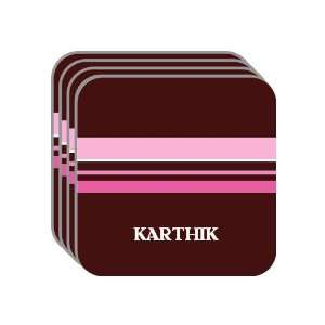 Personal Name Gift   KARTHIK Set of 4 Mini Mousepad Coasters (pink