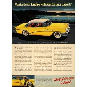 1955 Ad Buick Division GM Yellow 4 Door Riviera Car