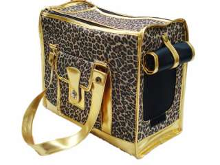 New Leopard Strip Print Carrier Pet Dog Cat Travel Tote