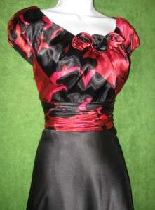 PETER NYGARD Black Red Multi Satin Rosettes Cocktail Dress 4