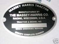 SERIAL NUMBER TAG 22 30 33 44 55 101 JR MASSEY HARRIS